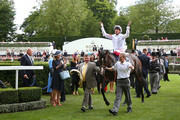 Frankie Dettori riding Advertise reacts to winning The Commonwealth Cup on day four of Royal Ascot at Ascot Racecourse on June 21, 2019 in Ascot, England.