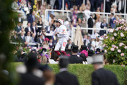 Frankie Dettori celebrates after riding Advertise to win The Commonwealth Cup on day four of Royal Ascot at Ascot Racecourse on June 21, 2019 in Ascot, England.