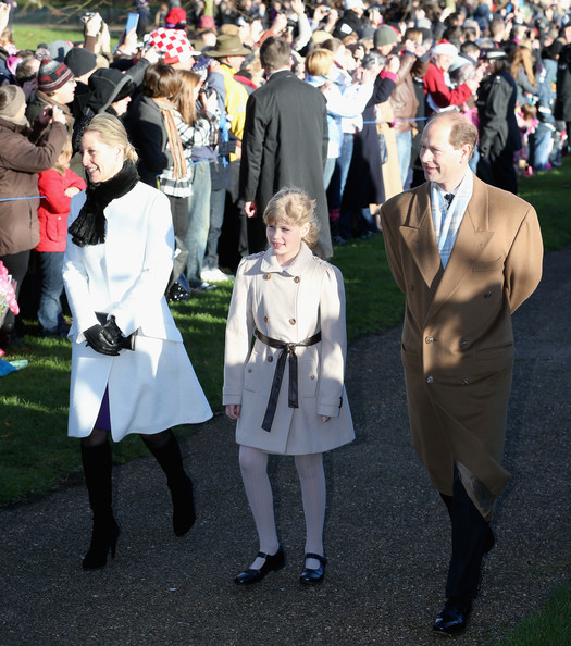 Sophie, Countess of Wessex, Lady Louise Windsor and Prince Edward, Earl of Wessex arrives at the Christmas Day service at Sandringham on December 25, 2013 in King's Lynn, England.