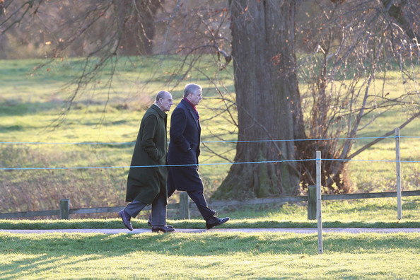 Prince Philip, Duke of Edinburgh (L) and Prince Andrew, Duke of York arrive for the Christmas Day service at Sandringham on December 25, 2013 in King's Lynn, England.
