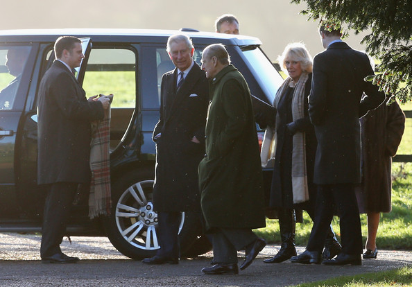 Prince Philip, Duke of Edinburgh (3rdL), Prince Charles, Prince of Wales (2ndL) and Camilla, Duchess of Cornwall (3rdR) arrive at the Christmas Day service at Sandringham on December 25, 2013 in King's Lynn, England.
