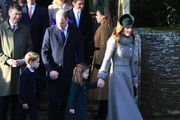 Prince William, Duke of Cambridge, Prince George, Princess Charlotte and Catherine, Duchess of Cambridge attend the Christmas Day Church service at Church of St Mary Magdalene on the Sandringham estate on December 25, 2019 in King's Lynn, United Kingdom.