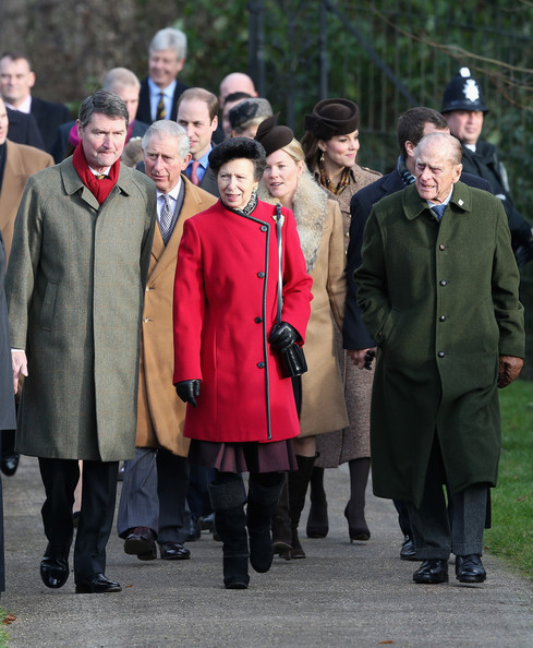 (L-R) Timothy Laurence, Prince Charles, Prince of Wales, Prince William, Duke of Cambridge, Princess Anne, Princess Royal, Autumn Phillips, Catherine, Duchess of Cambridge and Prince Phillip, Duke of Edinburgh arrive for Christmas Day Service at Sandringham Church on December 25, 2014 in King's Lynn, England.