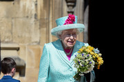 Queen Elizabeth II departs the Easter Sunday service at St George's Chapel on April 21, 2019 in Windsor, England.