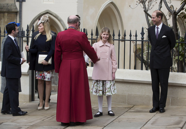 Autumn Phillips, Lady Louise Windsor (2nd right) and Prince Edward, Earl of Wessex (R) leave the Easter Sunday service at St George's Chapel at Windsor Castle on April 5, 2015 in Windsor, England.