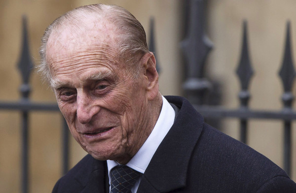 Prince Philip, Duke of Edinburgh leaves the Easter Sunday service at St George's Chapel at Windsor Castle on April 5, 2015 in Windsor, England.