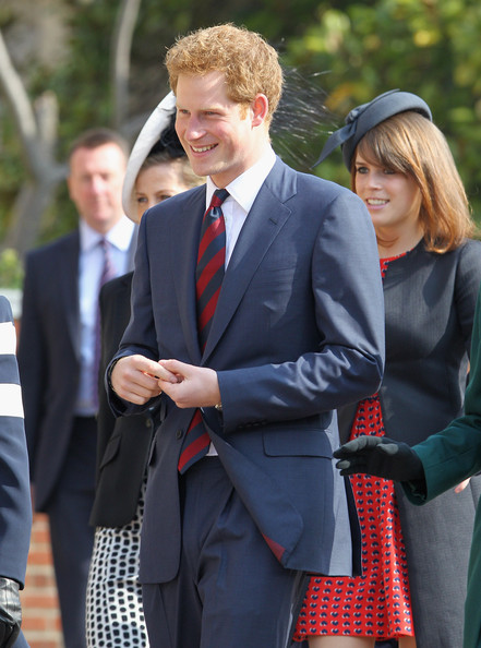 Prince Harry arrives for a thanksgiving service for a thanksgiving service for the Queen Mother and Princess Margaret at St George's Chapel on March 30, 2012 in Windsor, England.