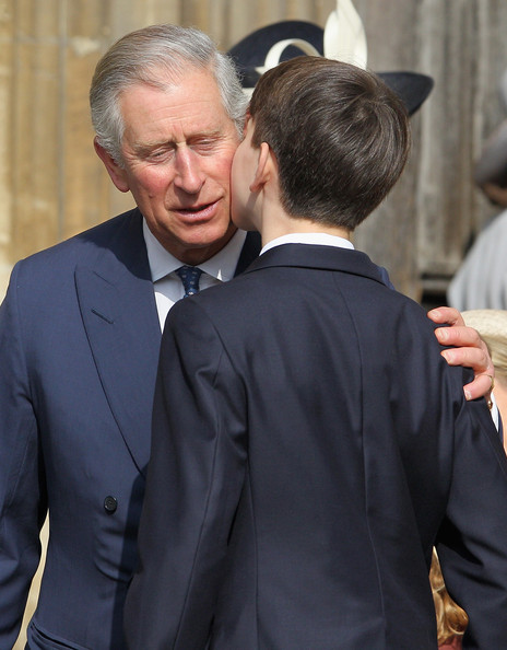 Prince Charles, Prince of Wales leaves a thanksgiving service for the Queen Mother and Princess Margaret at St George's Chapel on March 30, 2012 in Windsor, England.