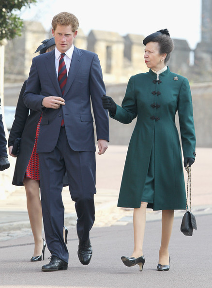 Prince Harry and Princess Anne, Princess Royal arrive for a thanksgiving service for the Queen Mother and Princess Margaret at St George's Chapel on March 30, 2012 in Windsor, England.
