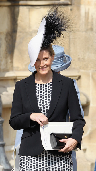 Sophie, Countess of Wessex leaves a thanksgiving service for the Queen Mother and Princess Margaret at St George's Chapel on March 30, 2012 in Windsor, England.