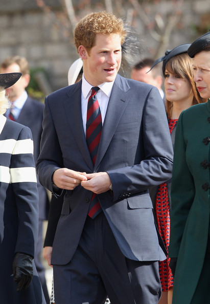 Prince Harry arrives for a thanksgiving service for the Queen Mother and Princess Margaret at St George's Chapel on March 30, 2012 in Windsor, England.
