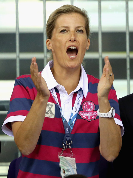 Sophie, Countess of Wessex cheers on the English cyclists at the Chris Hoy Velodrome in the Emirates Arena during the Commonwealth games on July 24, 2014 in Glasgow, Scotland.