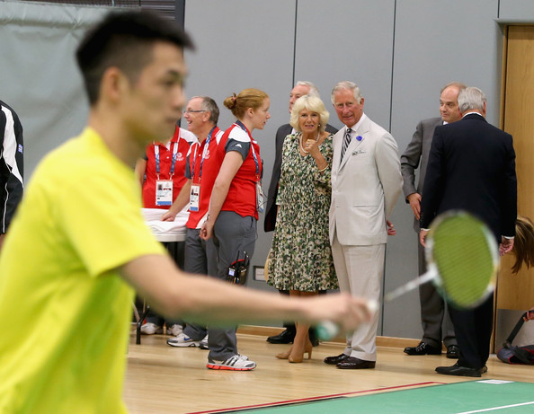 Prince Charles, Prince of Wales and Camilla, Duchess of Cornwall watch  Commonwealth badminton players during a visit to the Emirates Arena and Chris Hoy Velodrome ahead of the start of the Commonwealth games on July 23, 2014 in Glasgow, Scotland.