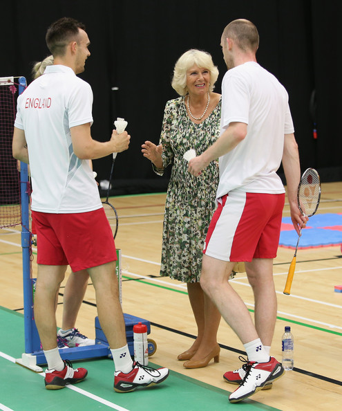 Camilla, Duchess of Cornwall meets English Commonwealth badminton players during a visit to the Emirates Arena and Chris Hoy Velodrome ahead of the start of the Commonwealth games on July 23, 2014 in Glasgow, Scotland.