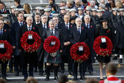 Former British prime minister David Cameron, (L) former British prime minister Gordon Brown, (3L), former British prime minister Tony Blair, (4R), Britain's opposition Labour Party Leader Jeremy Corbyn, (3R), former British prime minister John Major (2R) and British prime minister Theresa May (R) participate in the Remembrance Sunday ceremony at the Cenotaph on Whitehall in central London, on November 12, 2017..Services are held annually across Commonwealth countries during Remembrance Day to commemorate servicemen and women who have fallen in the line of duty since World War I. / AFP PHOTO / Tolga AKMEN