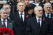 Former British prime minister Tony Blair, (2L), Britain's opposition Labour Party Leader Jeremy Corbyn, (2R) and former British prime minister John Major (R) attend the Remembrance Sunday ceremony at the Cenotaph on Whitehall in central London, on November 12, 2017..Services are held annually across Commonwealth countries during Remembrance Day to commemorate servicemen and women who have fallen in the line of duty since World War I. / AFP PHOTO / Tolga AKMEN