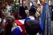 Prince Philip, Duke of Edinburgh prepares to sign the guest book during the Royal Maundy service at Leicester Cathedral on April 13, 2017 in Leicester, England. The Queen & Duke of Edinburgh travelled by car from Leicester station along Humberstone Gate, High Street and Jubilee Square.