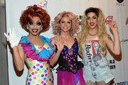 The top three finalists of season six of 'RuPaul's Drag Race' (L-R) Bianca Del Rio, Courtney Act and Adore Delano arrive at a viewing party for the show's finale at the New Tropicana Las Vegas on May 19, 2014 in Las Vegas, Nevada. Del Rio was declared the winner.