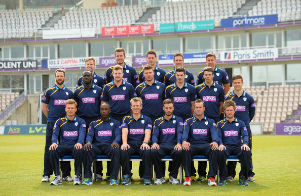 Hampshire CCC Photo Call [ccc photocall,team,team sport,player,social group,sports,sport venue,championship,ball game,stadium,tournament,kit,joe gatting,adam wheater,michael bates,william smith,sean terry,middle row,hampshire,back row]
