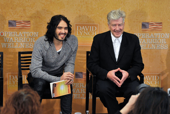 Russell Brand Actor/comedian Russell Brand and director and philanthropist David Lynch attend The David Lynch Foundation's Operation Warrior Wellness launch press conference at the Paley Center For Media on December 13, 2010 in New York City.