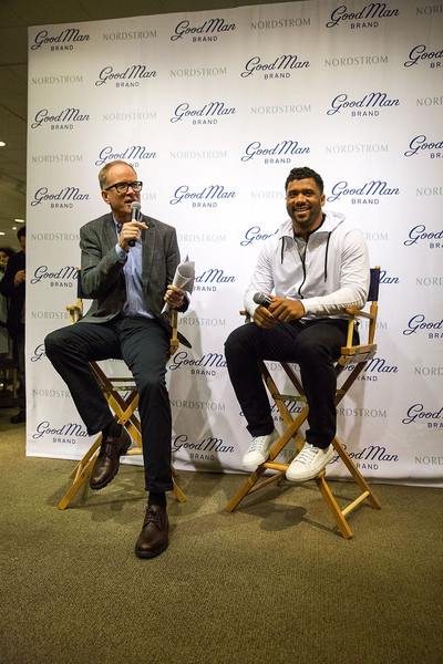 Russell Wilson Launches Good Man Brand at Nordstrom [yellow,design,event,adaptation,art,pete nordstrom,russell wilson,seattle,washington,nordstrom,russell wilson launches good man brand,seattle seahawks]