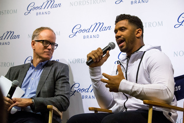 Russell Wilson Launches Good Man Brand at Nordstrom [nordstrom,russell wilson launches good man brand,seattle seahawks,event,spokesperson,news conference,businessperson,white-collar worker,seattle,washington,russell wilson,co-president,nordstrom pete nordstrom]