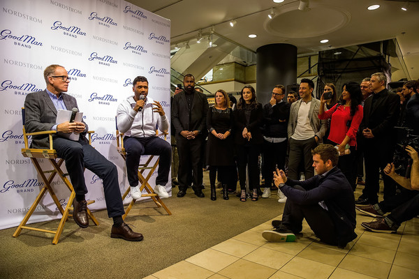 Russell Wilson Launches Good Man Brand at Nordstrom [nordstrom,russell wilson launches good man brand,seattle seahawks,event,youth,community,design,adaptation,architecture,news conference,collaboration,performance,team,seattle,washington,russell wilson,co-president,nordstrom pete nordstrom]