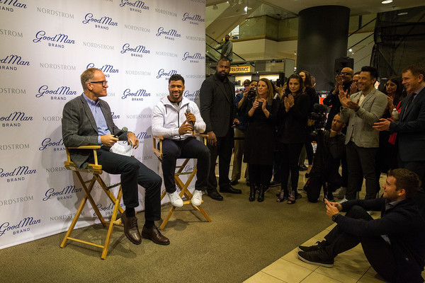 Russell Wilson Launches Good Man Brand at Nordstrom [nordstrom,russell wilson launches good man brand,seattle seahawks,event,design,collaboration,adaptation,architecture,businessperson,job,tourism,conversation,news conference,seattle,washington,russell wilson,co-president,nordstrom pete nordstrom]