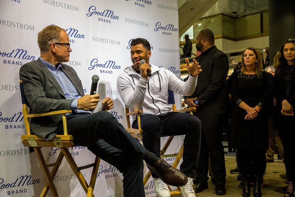 Russell Wilson Launches Good Man Brand at Nordstrom [nordstrom,russell wilson launches good man brand,seattle seahawks,yellow,event,design,adaptation,news conference,conversation,collaboration,seattle,washington,russell wilson,co-president,nordstrom pete nordstrom]