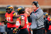 Head coach Randy Edsall of the Maryland Terrapins appluades from the sidelines after the Terrapins scored a first half touchdown against the Rutgers Scarlet Knights at Byrd Stadium on November 29, 2014 in College Park, Maryland.