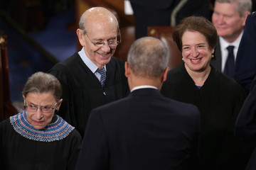 Ruth Bader Ginsburg Elena Kagan Barack Obama Delivers State of the Union Address