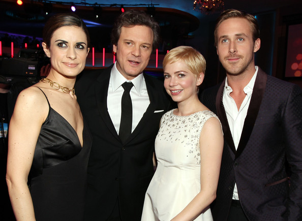 16th Annual Critics' Choice Movie Awards - Backstage And Audience [event,fashion,friendship,dress,premiere,fun,formal wear,suit,fashion accessory,smile,critics choice movie awards,l-r,hollywood palladium,california,livia giuggioli,audience,actors,michelle williams,colin firth,ryan gosling]