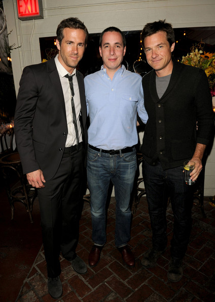 (L-R) Actor Ryan Reynolds, Editor In Chief of Details Magazine Dan Peres, and Actor Jason Bateman attend the Details Magazine/Ryan Reynolds Party at Dominick's Restaurant on June 6, 2011 in Los Angeles, California.