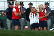 (L-R) Brandt Snedeker,  Bubba Watson, Keegan Bradley, Webb Simpson of the USA wait with their partners during day two of the Afternoon Four-Ball Matches for The 39th Ryder Cup at Medinah Country Club on September 29, 2012 in Medinah, Illinois.