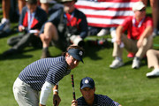 Bubba Watson and Webb Simpson of the USA line up a putt during day two of the Morning Foursome Matches for The 39th Ryder Cup at Medinah Country Club on September 29, 2012 in Medinah, Illinois.