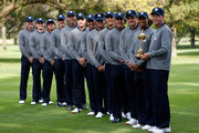 (R-L) USA Team captain Davis Love III poses with his players Tiger Woods, Keegan Bradley, Phil Mickelson, Dustin Johnson, Bubba Watson, Webb Simpson, Jim Furyk, Matt Kuchar, Brandt Snedeker, Jason Dufner, Zach Johnson and Steve Stricker for an official photograph during the second preview day of The 39th Ryder Cup at Medinah Country Golf Club on September 25, 2012 in Medinah, Illinois.