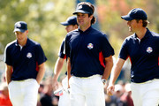 (L-R) Jim Furyk, Brandt Snedeker, Bubba Watson and Webb Simpson of the USA walk together during a practice round during the fourth preview day of The 39th Ryder Cup at Medinah Country Club on September 27, 2012 in Medinah, Illinois.