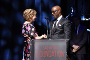 (L-R) SAG-AFTRA Foundation President Emeritus JoBeth Williams and SAG-AFTRA Foundation president Courtney B. Vance speak onstage during SAG-AFTRA Foundation's 4th Annual Patron of the Artists Awards at Wallis Annenberg Center for the Performing Arts on November 07, 2019 in Beverly Hills, California.