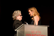 Honoree Kate Winslet (R) accepts the Actors Inspiration Award from Kathy Bates onstage at the SAG-AFTRA Foundation Patron of the Artists Awards 2017 at the Wallis Annenberg Center for the Performing Arts on November 9, 2017 in Beverly Hills, California.