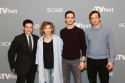 """Spotlight Cast Award Recipients for """"Gotham"""" actors (L-R) Robin Lord Taylor, Camren Bicondova, Cory Michael Smith and Nathan Darrow  pose  for a photo together during """"Gotham"""" event during aTVfest 2016 presented by SCAD on February 5, 2016 in Atlanta, Georgia."""
