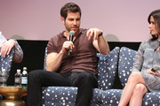 """Actor David Giuntoli and actress Bitsie Tulloch speak at the """"Grimm"""" event during aTVfest 2016 presented by SCAD on February 7, 2016 in Atlanta, Georgia."""