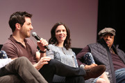 """Actor David Giuntoli, Actress Bitsie Tulloch, and Actor Russell Hornsby speak at the """"Grimm"""" event during aTVfest 2016 presented by SCAD on February 7, 2016 in Atlanta, Georgia."""