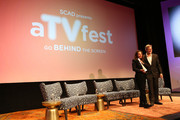 Actress Lili Taylor accepts her Icon award from presenter Brennen Dicker during Icon Award & Spotlight Cast Award Presentations during aTVfest  2016 presented by SCAD on February 5, 2016 in Atlanta, Georgia.