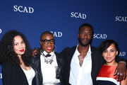 """Actors (L-R) Jurnee Smollett-Bell, Aisha Hinds, Aldis Hodge and Amirah Vann pose during  presentation for """"Underground"""" backstage on Day One of aTVfest 2017 presented by SCAD at SCADshow Greenroom on February 2, 2017 in Atlanta, Georgia."""