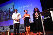 """Actors (L-R) Aisha Hinds, Amirah Vann, Jurnee Smollett-Bell receive their Cast Award for """"Underground"""" on Day One of aTVfest 2017 presented by SCAD at SCADshow Mainstage on February 2, 2017 in Atlanta, Georgia."""