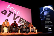(L-R) Anthony Hemingway, Marcc Rose, Wavyy Jonez, and Bokeem Woodbine speak during a screening and Q&A for 'Unsolved: The Murders of Tupac and the Notorious B.I.G.' on Day 2 of the SCAD aTVfest 2018 on February 2, 2018 in Atlanta, Georgia.