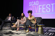 Michelle Cole (C) and Yara Shahidi attend SCAD aTVfest 2020 - In Conversation: The Spirit And Style Of 'Grown-ish' With Yara Shahidi And Michelle R. Cole on February 28, 2020 in Atlanta, Georgia.