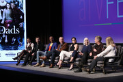 """(L-R) Michele Weaver, Clive Standen, J. August Richards, Michael O'Neill and Sarah Wayne Callies, Joan Rater and Tony Phelan attend SCAD aTVfest 2020 - """"Council Of Dads"""" on February 28, 2020 in Atlanta, Georgia."""