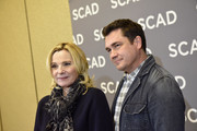 "Kim Cattrall (L) and Tate Taylor attend the SCAD aTVfest 2020 - ""Filthy Rich"" With Kim Cattrall Icon Award Presentation on February 27, 2020 in Atlanta, Georgia."