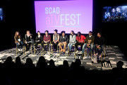 "(L-R) Samantha Highfield, Julie PlecDanielle Rose Russell, Aria Shahghasemi, Jenny Boyd, Quincy Fouse, Kaylee Bryant, Chris Lee, Peyton Alex Smith and Brent Matthews speak onstage SCAD aTVfest 2020 - ""Legacies"" on February 29, 2020 in Atlanta, Georgia."